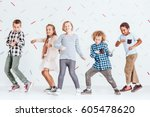 group of boys and girls dancing ... | Shutterstock . vector #605478620