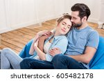 beautiful young couple with... | Shutterstock . vector #605482178