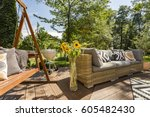 new villa patio with wooden... | Shutterstock . vector #605482430
