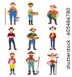 set of cartoon farmer  man with ... | Shutterstock .eps vector #605486780