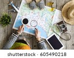 travel planning concept on map | Shutterstock . vector #605490218