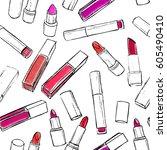 lipsticks seamless pattern.... | Shutterstock .eps vector #605490410