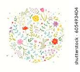 floral design element. greeting ... | Shutterstock .eps vector #605493404