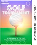 poster template with golf... | Shutterstock .eps vector #605497064