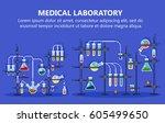 medical laboratory equipment... | Shutterstock .eps vector #605499650