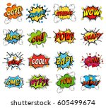 Sound replicas or comic speech bubbles for crash and wham, explosion bang and boom message with bomb, oops and oh, pow and snap fighting clouds, zap and omg, wtf. Onomatopoeic expressions | Shutterstock vector #605499674