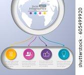 modern paper infographics... | Shutterstock .eps vector #605499920