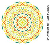 mandala. vector ethnic oriental ... | Shutterstock .eps vector #605508008