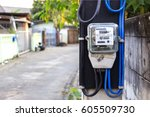 electric power meter with soft... | Shutterstock . vector #605509730