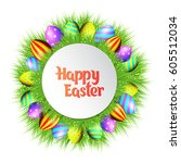 happy easter collection.... | Shutterstock .eps vector #605512034