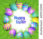 happy easter collection.... | Shutterstock .eps vector #605512040