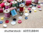 sewing tools  many different... | Shutterstock . vector #605518844