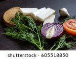 cut red onions  tomato  dill ... | Shutterstock . vector #605518850