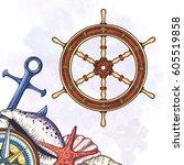 hand drawn ship stearing wheel. ...   Shutterstock .eps vector #605519858