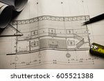engineering diagram blueprint... | Shutterstock . vector #605521388