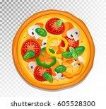 vector classic pizza... | Shutterstock .eps vector #605528300