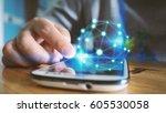 world connected.social network... | Shutterstock . vector #605530058