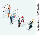 trendy isometric people  3d... | Shutterstock .eps vector #605534414