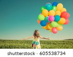 happy child playing with... | Shutterstock . vector #605538734