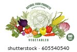 vegetables big set. vector... | Shutterstock .eps vector #605540540