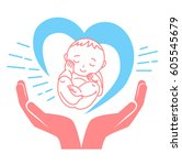 concept of the birth of a child ... | Shutterstock .eps vector #605545679