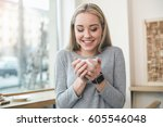 coffee time. beautiful young... | Shutterstock . vector #605546048