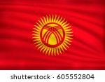 the national flag of kyrgyzstan ... | Shutterstock .eps vector #605552804