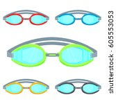pool goggles illustration... | Shutterstock . vector #605553053