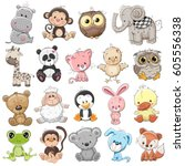 set of cute animals on a white... | Shutterstock .eps vector #605556338