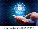 cyber security concept.... | Shutterstock . vector #605559410