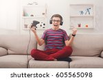 gaming video games concept  ...   Shutterstock . vector #605565098