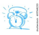 handrawn alarm clock  vector... | Shutterstock .eps vector #605568233