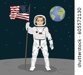young astronaut standing on the ...   Shutterstock .eps vector #605572130