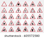 set of warning sign. vector ... | Shutterstock .eps vector #605572580