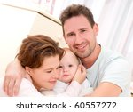 young  happy family in a room... | Shutterstock . vector #60557272