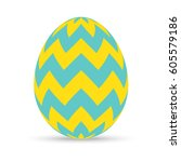 easter egg with zigzag chevron... | Shutterstock .eps vector #605579186