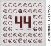 outline smiles collection. 44... | Shutterstock .eps vector #605579300