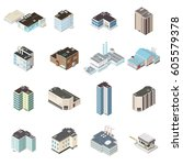 isometric city map buildings. a ...   Shutterstock .eps vector #605579378