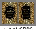 invitation card with lace...   Shutterstock .eps vector #605582000