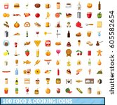 100 food and cooking icons set... | Shutterstock .eps vector #605582654