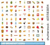 100 breakfast icons set in... | Shutterstock .eps vector #605583854