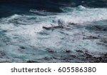 water splash on the beach | Shutterstock . vector #605586380