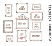 set of decorative vintage... | Shutterstock .eps vector #605587688