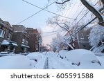 heavy snow fall on one way... | Shutterstock . vector #605591588