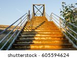 old forgotten stairs in queens  ... | Shutterstock . vector #605594624