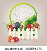 bright easter card. template... | Shutterstock .eps vector #605596370