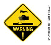 warning acid sign  symbol ... | Shutterstock .eps vector #605598134