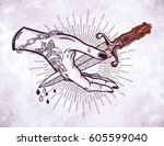 traditional tattoo flash hand... | Shutterstock .eps vector #605599040