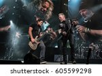 Small photo of HONG KONG - January 20, 2017: American heavy metal band Metallica show, Vocalist James Hetfield with Bass Guitarist Robert Trujillo performed on stage