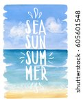Sea  Sun  Summer Lettering On...